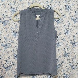 J. Crew chenille dots gray tank top blouse cute!
